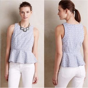 NWT HD in Paris Embroidered Eyelet Peplum Top